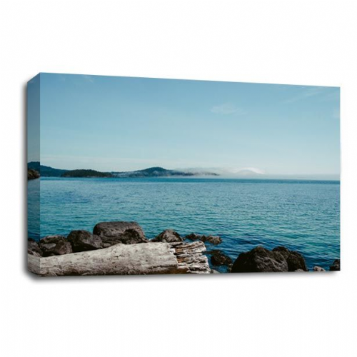 Seascape Island Canvas Wall Art Picture Beach Sand Sea View Print